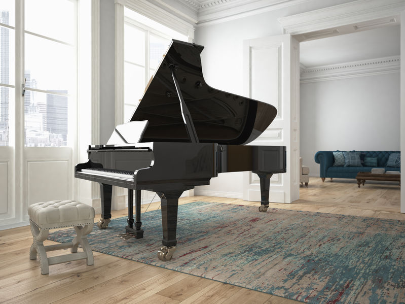 45590663 - a black piano in a modern living room. 3d rendering